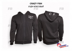 Худи флисовый Crazy Fish Cotton Black - XL