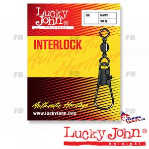 Вертлюги c застежкой Lucky John BARREL AND INTERLOCK Black 007 7шт.